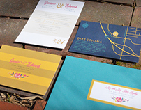 Gold, Navy, Teal, Pink Wedding Invitation Suite