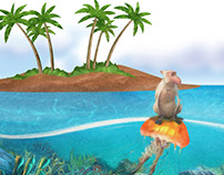 Monkey and jelly fish fairy tale illustration