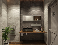Loft style toilet design in any restaurant