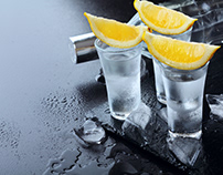 Advertising of Vodka.Ice and lemon