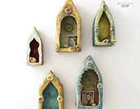 Handmade Paper Mache Shrine Cabinets
