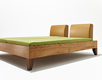 MAMMA solid wood bed with upholstered headbord leather