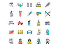 Face Shield Icons Set