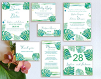 Free Wedding Invitation Stationary Suite PSD with Water