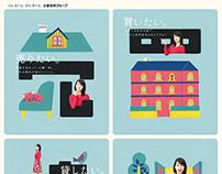 """Advertisement """"三菱地所ハウスネット""""Illustration"""