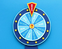 """Wheel of Misfortune"" - paper craft illustration"
