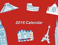 2016 Around The World Inky Illustration Calendar