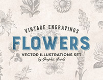 Flowers - Vintage Engraving Illustration Set