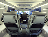 Interior of allroad vehicle Avtoros Shaman