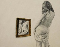 """Vanity Mirror""(2012) Graphite & Colored Pencil 8 1/2 X"