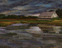 Moody Marsh with House. Essex