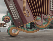 3D Acordeon illustration and compositing
