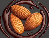 Illustration of almonds, peanuts and rum with chocolate