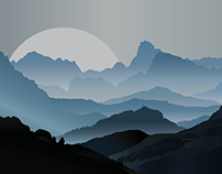 Misty Mountains made from Gradients