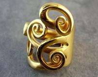 Fork ring gilded