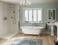 Bathroom visualisations for a new range of showers