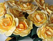Yellow roses napkin rings, for Livia