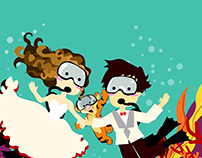 Scuba Diver Couple Illustration