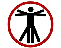 'beware of the artist' vitruvian man for public space