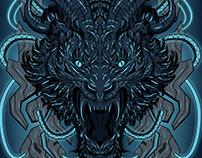Mecha Neon Beast - Vector Illustration