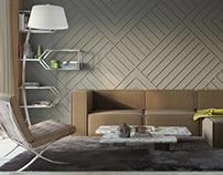 Livingroom in wood & grey