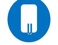UM (underground music) logo - on blue