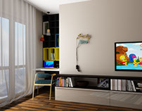 Interior design of apartment in Kiev. Boy room