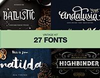 The Vintage Fonts Kit - 27 Fonts + Extras