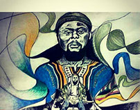 african style street illustration portrait
