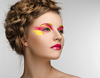 yellow-red makeup