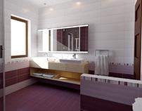 Bathroom interior: purple and white