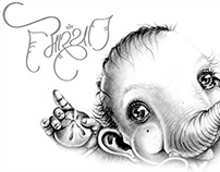 Little Cute Ganesh with Hindi Calligraphy 3