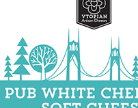 Vtopian Artisan Cheeses logo and packaging
