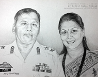 """Pencil Sketch - """"An Army man with her wife"""" (Handdrawn)"""