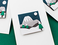 Paper art illustration - miniature cards
