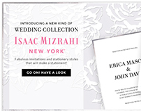 Isaac Mizrahi Wedding Collection Landing Page and email