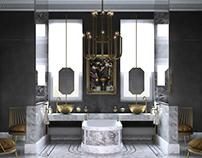 Dark bathroom 3D-Visualization&Design