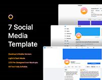 7 Social Media Template + 225 Icons Mockups - PSD