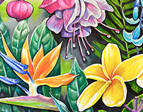 Tropical theme in marker's illustrations