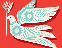 Dove. Christmas Card Design.