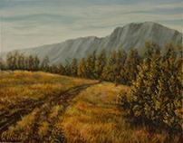 Stefan Popovic,Mountain landscape, oil on paper,2015