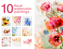 Watercolor posters. Flower painting