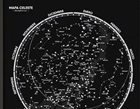 Mapa de constelaciones. Hemisferio Norte y Sur