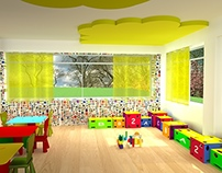 Interior design of a nursery classroom.