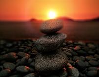 Cailloux sur coucher de soleil