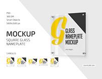 Square Glass Nameplate Mockup
