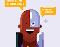 Vector Portrait, Flat Design Character Illustration