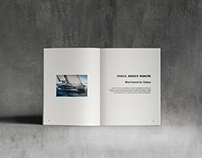 Editorial design for a private yachting label