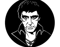 Al Pacino Scraface movie, vector illustration.