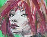 redhead; tempera